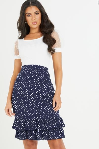 Navy Polka Dot Frill Skirt